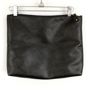 Free People Black Faux Leather Zipper Pouch Clutch